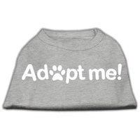 Mirage Pet Products 51-139 MDGY Adopt Me Screen Print Shirt Grey Med - 12