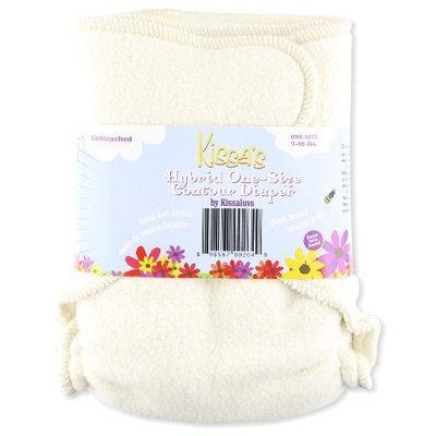 Kissaluvs Cotton Fleece Hybrid One Size Contour Diaper, Unbleached (Discontinued by Manufacturer)