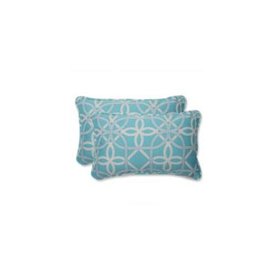 Pillow Perfect Outdoor 2-Piece Rectangular Throw Pillow Set - Blue/Brown Keene