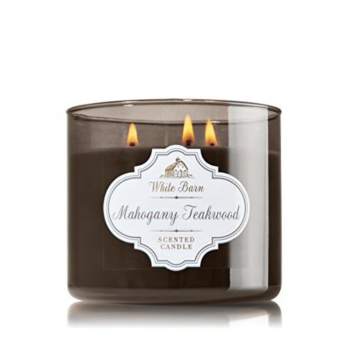 1 X Bath & Body Works White Barn Mahogany Teakwood Scented 3 Wick Candle 14.5 oz./411 g