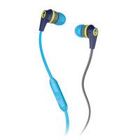 Skullcandy INK'D MIC'D Earbud Headphones (Navy and Hot Blue)
