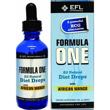 Efl Nutritionals FORMULA ONE TM All Natural Diet Drops with African Mango. For use with the Formula One Diet Plan, Includes Allowable Foods List, Basic Diet Instructions Guide & Our Top Rated Customer Service. - 2FL oz