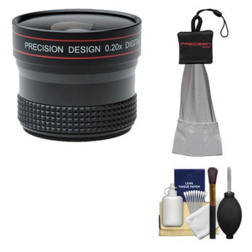 Precision Design 0.20x HD High Definition Fisheye Lens with Cleaning & Accessory Kit for Nikon D3100, D3200, D5100, D5200, D7000, D600, D700, D800, D4 Digital SLR Cameras