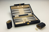 Sterling Games 10-Inch Backgammon Set - Black Pebble