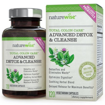 NatureWise Total Colon Care Advanced Detox & Cleanse with Digestive Enzymes and Prebiotics for Colon Health & Weight Management, 120-ct