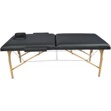 Auwit Professional Portable 3 Foam Folding Massage Table w/Face Cradle & Case-Black