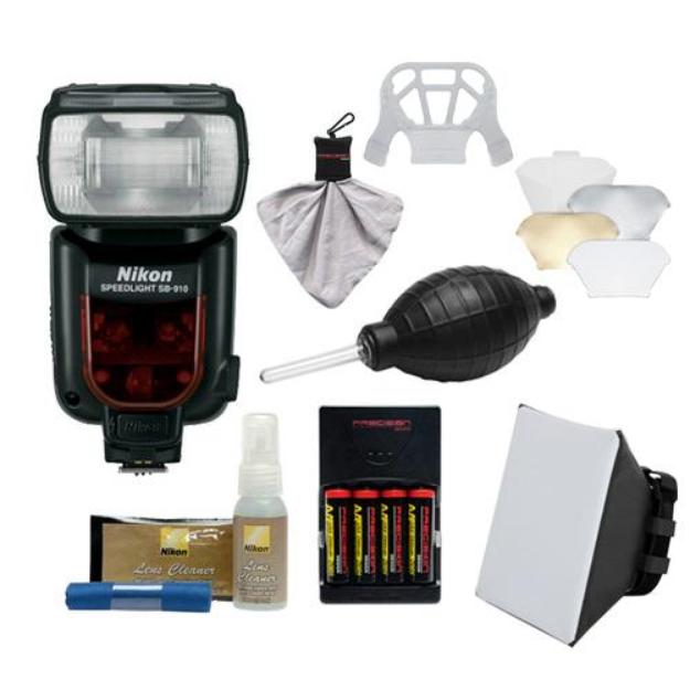 Nikon SB-910 AF Speedlight Flash with Batteries & Charger + Softbox + Reflector + Kit for for D3200, D3300, D5200, D5300, D7000, D7100, D610, D800, D4s DSLR Cameras