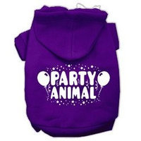 Mirage Pet Products Party Animal Screen Print Pet Hoodies Purple Size Lg (14)
