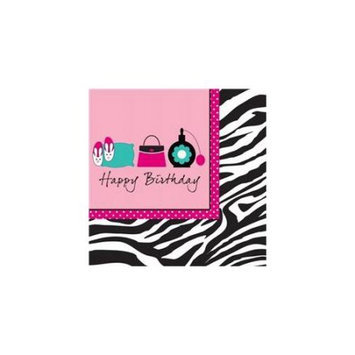 Creative Converting Pink Zebra Boutique Happy Birthday Lunch Napkins
