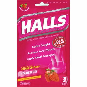 Halls Base Strawberry Cough Suppressant/Oral Anesthetic Menthol Drops