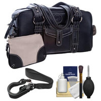 Jill-E Jill-e Small Leather Digital SLR Camera Bag (Black) with Camera Strap + Accessory Kit