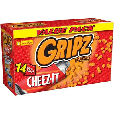 Sunshine Cheez-It Gripz Mighty Tiny Cheez-It Baked Snack Crackers Value Pack, 14ct