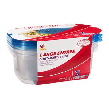 Ahold Large Entree Containers & Lids - 3 CT