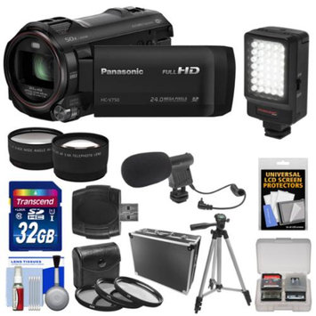 Panasonic HC-V750K HD Wi-Fi Video Camera Camcorder with 32GB Card + Hard Case + LED Light + Mic + Tripod + 3 Filters + Tele/Wide Lens Kit