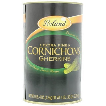 Roland Extra Fine Cornichons Gherkins (77.9 Ounce Drained Weight), 148-Ounce