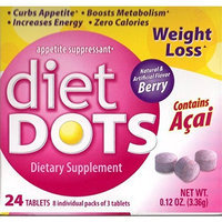 Diet Dots Natural Appetite Suppressant Weight Loss Dietary Supplement Acai Berry Flavor, 24 Tablets