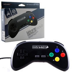 Retro-Bit Super Retro RDP Single Pack Wired Controller-Black for Super Nintendo Entertainment System