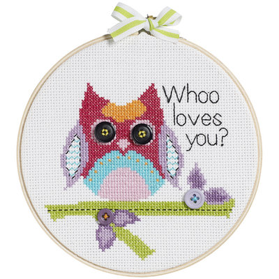 Bucilla My 1st Stitch Whoo Loves You Mini Counted Cross Stitch Kit-6in Round 14 Count