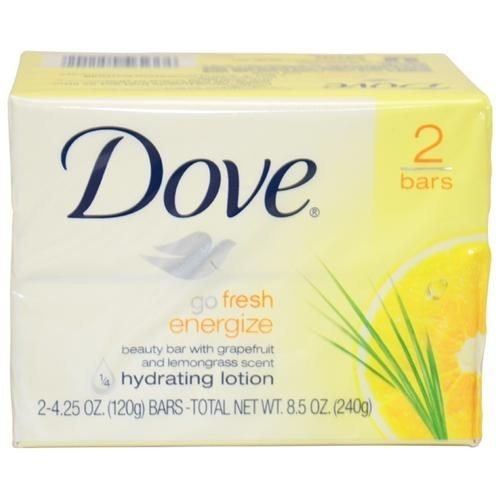 Dove Go Fresh Energize Hydrating Lotion Beauty Bar Soap (Pack of 2)