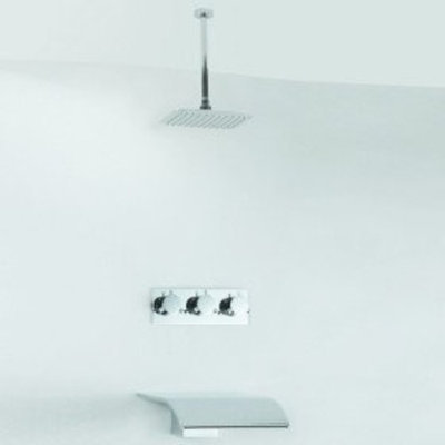 MAX Contemporary Tub Shower Faucet with Rainfall Shower Head + Hand Shower (Wall Mount)