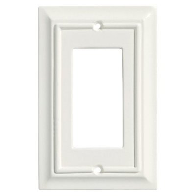 Brainerd Wood Architectural Single GFCI/Rocker Wall Plate - White