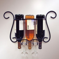 J & J Wire 20 in. Wine and Glass Holder