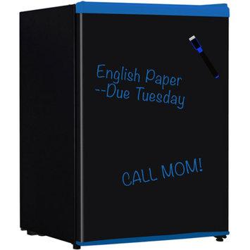 Keystone Energy Star 2.4 Cu. Ft. Compact Refrigerator with Wipe-Off Board Front, Black with Blue Trim, KSTRC24CBU