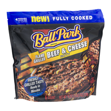 Ball Park Flame Grilled Beef & Cheese Patty - 6 CT
