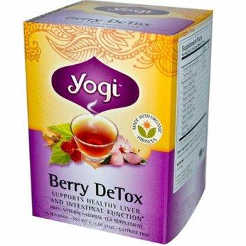 Yogi Detox Herbal Tea Caffeine Free Berry 16 Tea Bags Case of 6