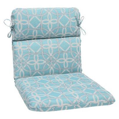 Pillow Perfect Outdoor Round Edge Chair Cushion - Blue/Brown Keene