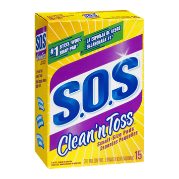 S.O.S Clean'n Toss Steel Wool Soap Pads Small