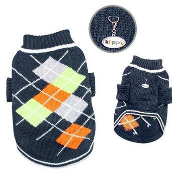 Klippo Pet, Inc Klippo Pet KSW102SZ Argyle Pattern Turtleneck Sweater, Navy Charcoal - Small