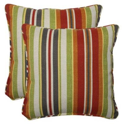 Pillow Perfect Outdoor 2-Piece Square Throw Pillow Set - Roxen Stripe