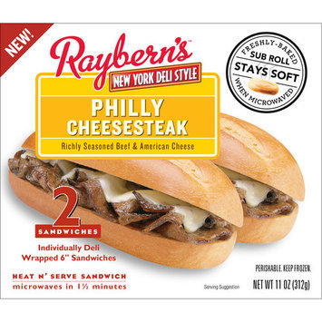 Raybern New York Deli Style Raybern's Philly Cheesesteak Sandwich, 5.5 oz, 2 count