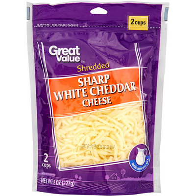 Great Value: Sharp White Shredded Cheddar Cheese, 8 Oz