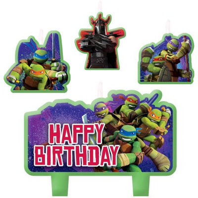 Amscan BB171194 Ninja Turtles Mini Molded Birthday Candles -4 Pack
