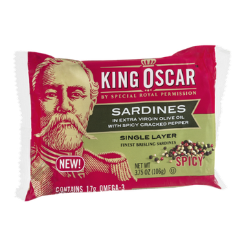 King Oscar Sardines in Extra Virgin Olive Oil with Spicy Cracked Pepper