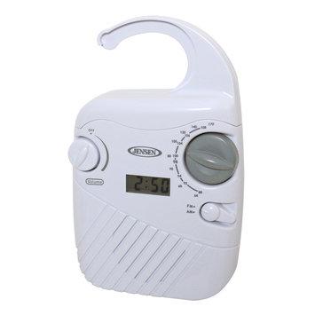 Jensen AM/FM Shower Radio with Clock White