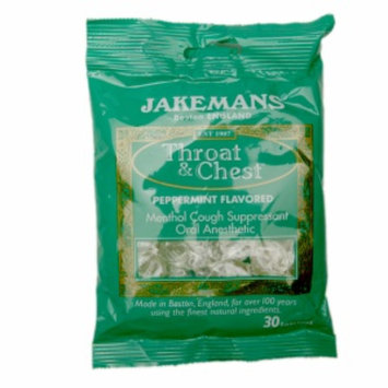 Jakemans Throat & Chest Lozenges, Peppermint, 30 ea