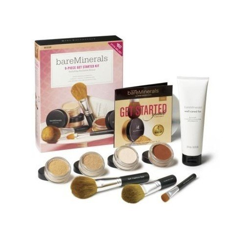 Bare Escentuals Face Care - 100% Pure Bareminerals Get Started Complexion Kit - Tan (2Xfdn Spf15+Tinted Mineral Veil+Face Color+3Xbrush+Dvd+Brush Shampoo) For Women