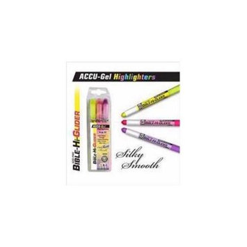 G T Luscombe 127250 Highlighter Accu Gel Bible Hi Glider 3 Pk Yello With Pack - Violet