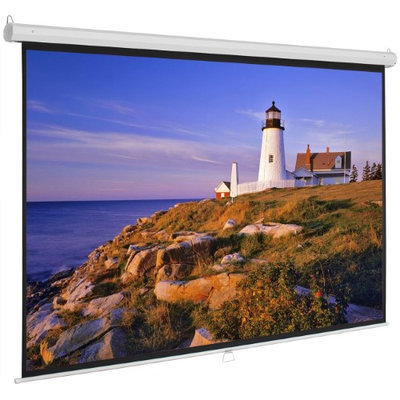 Onebigoutlet 100inch 16:9 Manual Projection Screen Projector Matte White Home Movie Theater