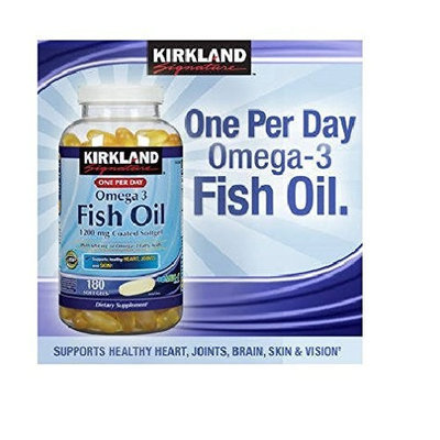 Kirkland Signature Enteric Coated Fish Oil Omega 3 1200 MG Fish Oil, 684 MG of Omega 3 Fatty Acids, 180 softgels (Pack of 2)