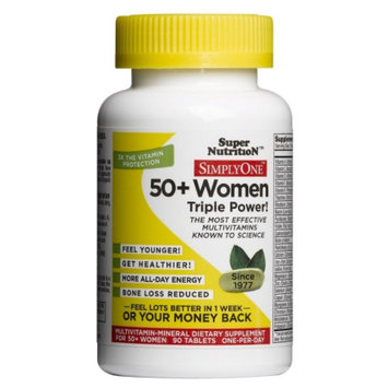 Super Nutrition Simply One 50+ Women High Energy One-Per-Day Vegetarian Food-Based Tablets