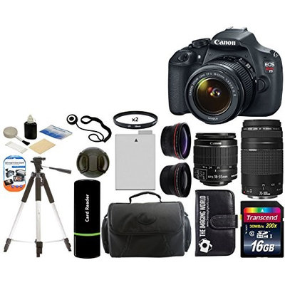 Canon EOS Rebel T5 18MP DSLR Camera + EF-S 18-55mm IS + 75-300mm III Lenses + Deluxe Accessory Kit++