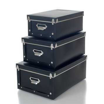 Trademark Home Retro Storage Boxes - Set of 3 - Collapsible