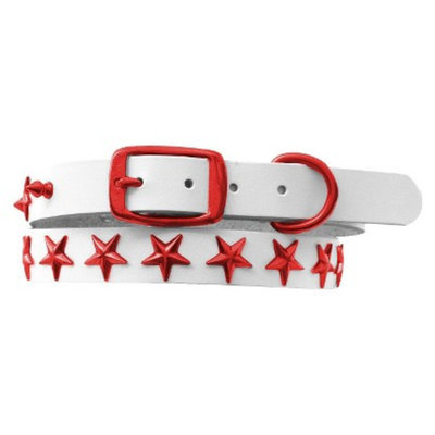 Platinum Pets White Genuine Leather Dog Collar with Stars - Red (11