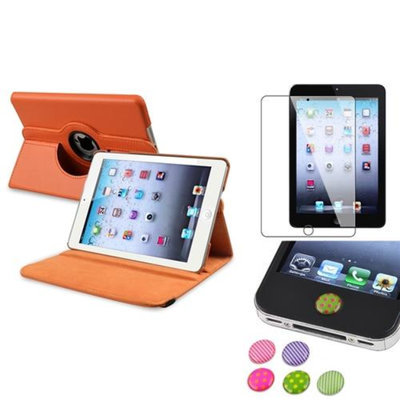 Insten iPad Mini 3/2/1 Case, by INSTEN Orange 360 Leather Case Cover+Protector/Sticker for iPad Mini 3 2 1