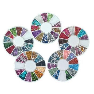 Bundle Monster 5 Nail Art Nailart Manicure Wheels w/ 3D Designs Glitters Rhinestones Beads - total over 7000pc