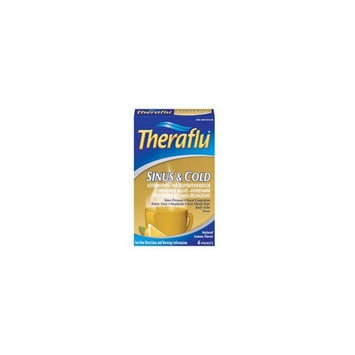 Theraflu Sinus & Cold Relief, 6 Packets, Natural Lemon Flavor